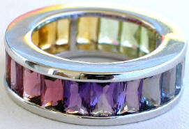 Rainbow Eternity Bands - Baguettes Make These Rings Appeal to Non-Wives Too