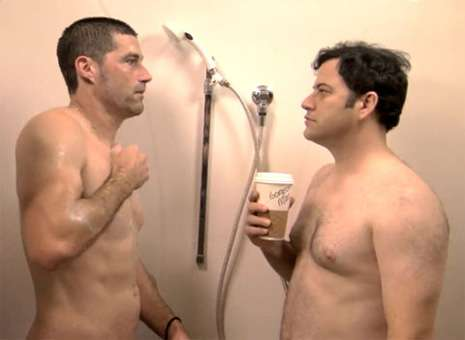 Shower Staring - Jimmy Kimmel and Matthew Fox Bathe Together for 'Gorgeous Man'