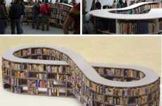 Racetrack Bookshelves - The Infinite Loop Bookcase Makes Continuous Reading Easy