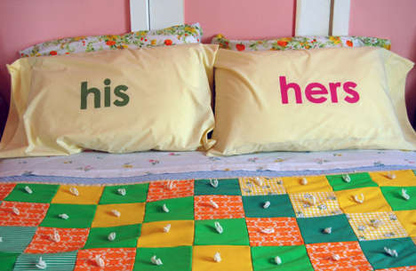 DIY Labeled Pillows - Dreams Just Got Sweeter With His & Hers Cushions
