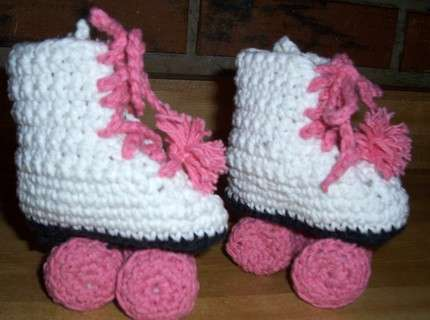 Knitted Roller Skates - Faux Athletic Baby Feet Accessories By Allkindsofstuff