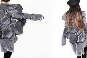 Luxirare Creates an In-Between Season Coat With Floating Fur Atop Sheer Organza