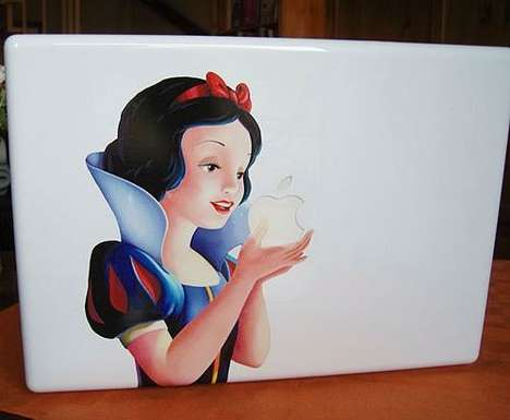 Disney Princess Laptops - Macbook Cover Has Snow White Holding the Apple Logo