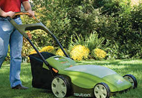 Neuton CE 6 Electric Lawn Mower Is Green on the Green