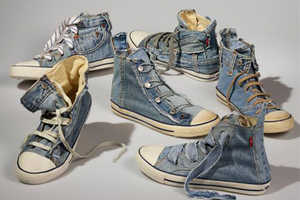 Levi's Creates 'Reused Jean Shoes' From Vintage Clothing