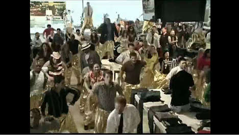Hammer Pants Flash Mobs - LA Store is Rushed by Dancers in Golden Pants