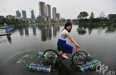 Floating Bicycles - Li Wieguo's Amphibious Bike is Eco-Transportation and Exercise
