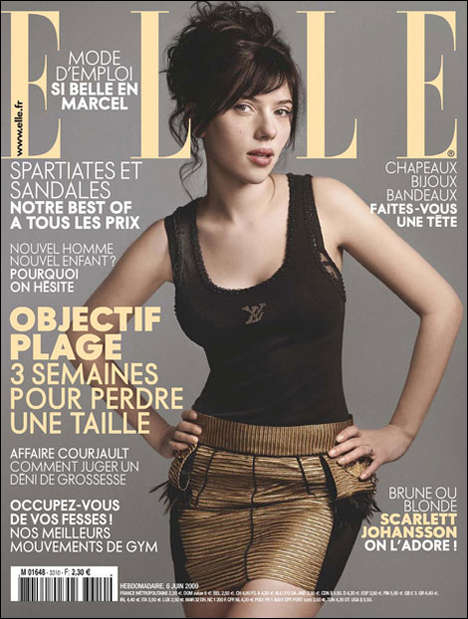 Makeup-Less Magazine Covers - Scarlett Johansson Goes Natural in July Elle France