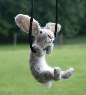 Swinging Rabbit Necklaces - Felted Wool Critter Jewelry by Motleymutton