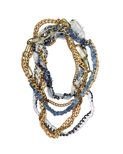 Denim Jewelry - From Woven Gold and Jean Fenton Necklaces to Denim Zipper Bangles