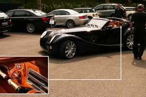 Morgan's  Aero Convertible Rocks Riches With Twin Champagne Bottles