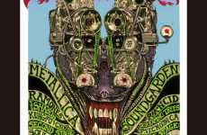 Retro Concert Ads - Emek's Dark Machine Music Art Mimics 60s & 80s Punk Posters