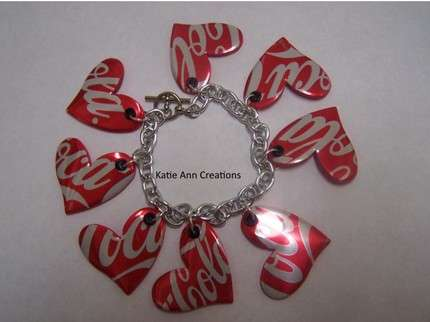 Upcycled Hearts - Recycled Beer Can Jewelry and Starbucks Keychains by KatieAnnCreations