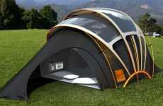 Glowing Tents - The Orange Solar Tent Communicates With Other Campers