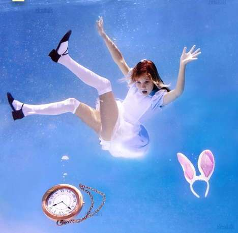 Underwater Tea Parties - Alice in Wonderland Goes Under the Sea in Elena Kalis' Photos