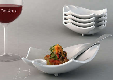 One-Handed Dining - Mantara Dish Holds Entire Meal on Five Fingers