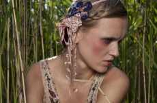 Weeping Willow Accessories - Maria Baranova's Tasseled Scarves & Headbands Evoke the 'Forest'