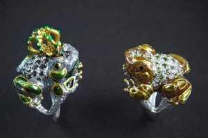 Delfina Delettrez's Glittering Amphibian and Sparkling Spider Rings