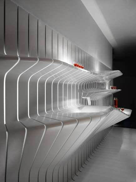 Twisted Wall Surfaces - DuPont Corian Goes From Flat Countertop to Flowing Shelves