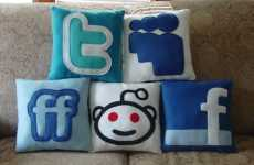 Social Networking Pillows - Twitter, Facebook & MySpace Cushions for Internet Addicts