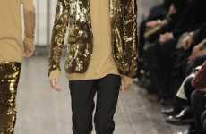 Gold Glitter Blazers - Michael Jackson Fashion Influences for Alessandro Dell'Acqua Men's Fall?