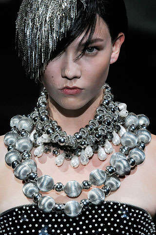 Silver Bauble Beads - Elaborate Chains Rock Armani Prive Fall 2009 Couture Collection