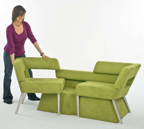 Expanding Modular Seating - Phil Crook's Compact Sofa System Slides Out Into Chairs for Company