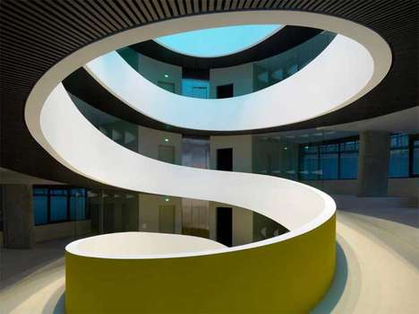 Peeling Architecture - Camenzind Evolution Design Creates Swirling Cocoon Offices