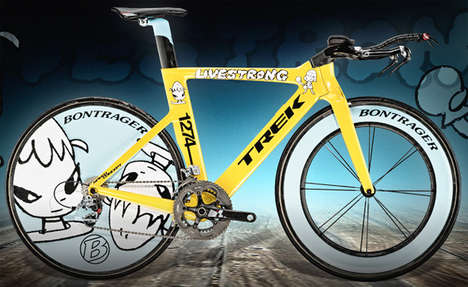 Graffiti Bicycles - Trek Lance Armstrong STAGES Bike by Yoshitomo Nara Takes Cues from the Street
