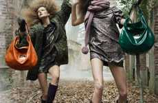 Frolicking Forest Fashions - Mulberry Fall ads Show Models in the Wild