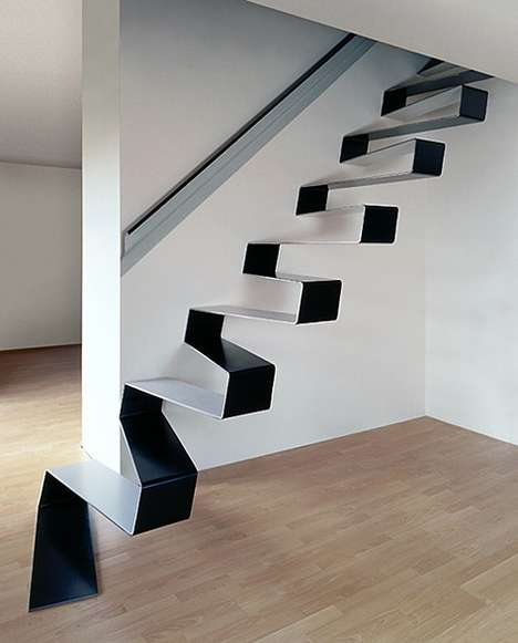 Abstract Staircases - 'Ribbon Stairs' Make for Eye-Catching Home Decor