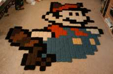 Crocheted Cartoons - The Mario Raccoon Rug is Knitted to Perfection