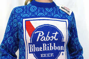 AJ Fosik Rescues Vintage Beer Label Knitted Sweaters