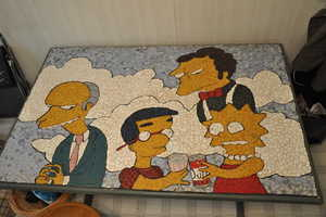 DIY Simpsons Episode Creatively Handcrafted on a Coffee Table