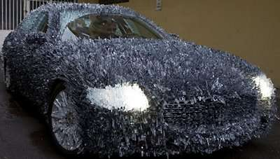 Art or Tragedy? Maserati Quattroporte Covered with 1,763 lbs of Shattered Glass