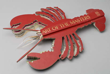 Books as Art - Book Works Papercraft Sculptures of Lobsters, Guns & Scorpions