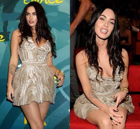Skin-Tone Mini Dresses - Megan Fox Sparkles at 2009 Teen Choice Awards