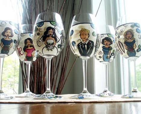 Wedding Party Wine Glasses on Wine Glasses Bridal Party Glasses Feature Cartoons Of Your Wedding
