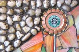 Coffee Flowers Made of Stained Glass & Starbucks Frappucino Caps
