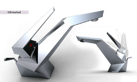 Origami Faucets - Sofian Tallal's 'Chiseled' & 'U-Turn' Faucets Are Futuristic Fantastic
