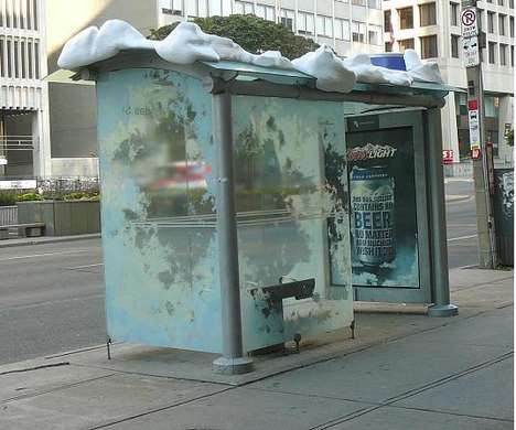 Boozed-Up Bus Shelters - Coors Creates Outstanding Beer Can Ads