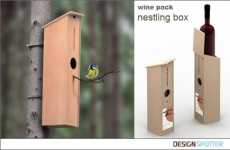 Wine Box Doubles as a Bird Nesting Box