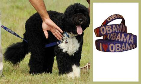 Celebripup Accessories - Bo's 'I Heart Obama' Dog Collar and Leash Set