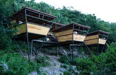 Triangular Jungle Shelters - V-Houses by Heinz Legler Offer Stunning Views Without Damaging the Land