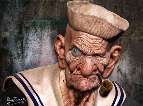 Aged Cartoons - Rick Baker Draws an Illustration of an Aged Popeye the Sailor Man