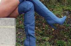 Daring Denim Designs - Healed Jean Boots are For Eccentric Soles Only