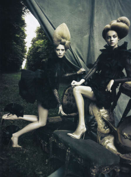 Croissant-Shaped Updos - Hair Rivals Fashion in 'A Dream of a Dress' for Vogue Italia