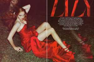 Lily Cole is a Luscious Lady in Red for Guy Aroch in Harper's Bazaar UK
