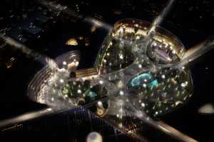 Self-Sustaining Sunflower Umbrella City in United Arab Emirates