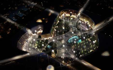 Eco-Centric Cities - Self-Sustaining Sunflower Umbrella City in United Arab Emirates